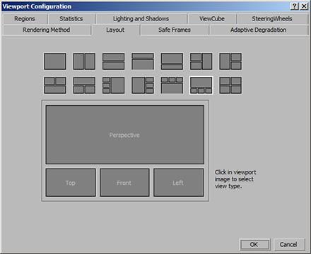 Расположение окон проекций в 3ds Max 2011