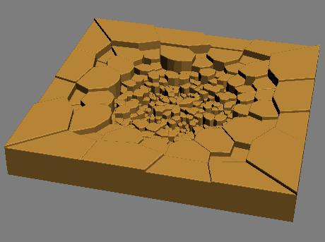 Растресканный бетонный пол от удара