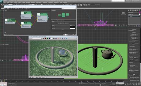 Текстура VRayDistanceTex в V-Ray 2.0 контролирует высоту травы в зависимости от удаленности объектов