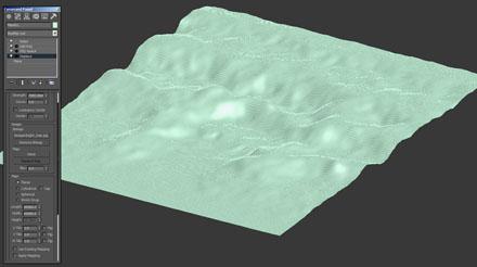 Поверхность 3d-земли с настройками стека модификаторов
