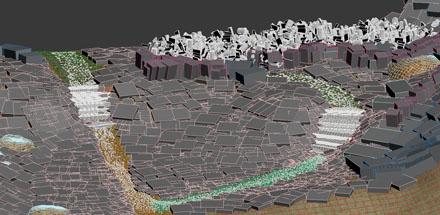 3d-земля покрытая V-ray proxy травы