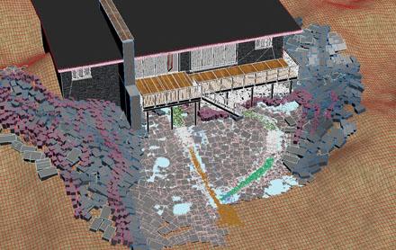 Осмотр всей сцены 3d-земли с травой, гравием, листьями