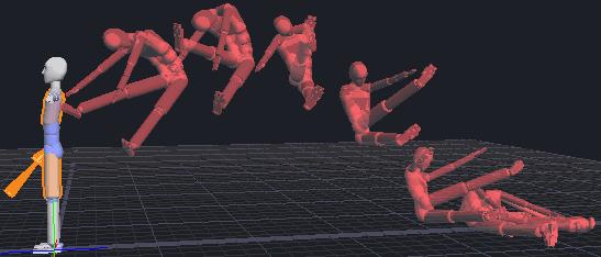 Применение удара на 3d-персонажа