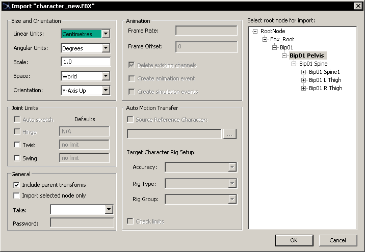 Импортирование персонажа из FBX-файла
