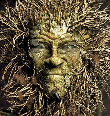 Человеческое лицо, из которого произрастает плющ