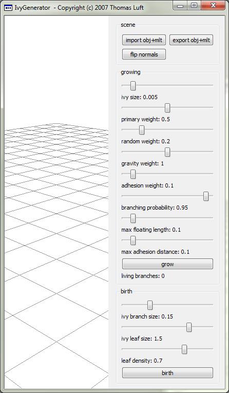Окно программы Ivy Generator
