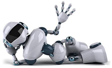 3D-робот лежит на белом фоне