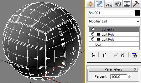 Превращаем куб в сферу модификатором Spherify