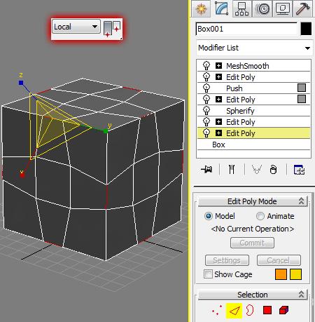 Работа с нелинейным стеком модификаторов в 3ds Max