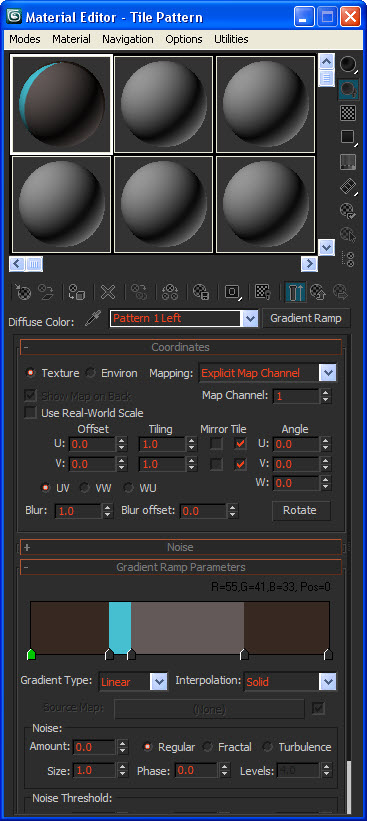 Настройка процедурной текстуры Gradient Ramp