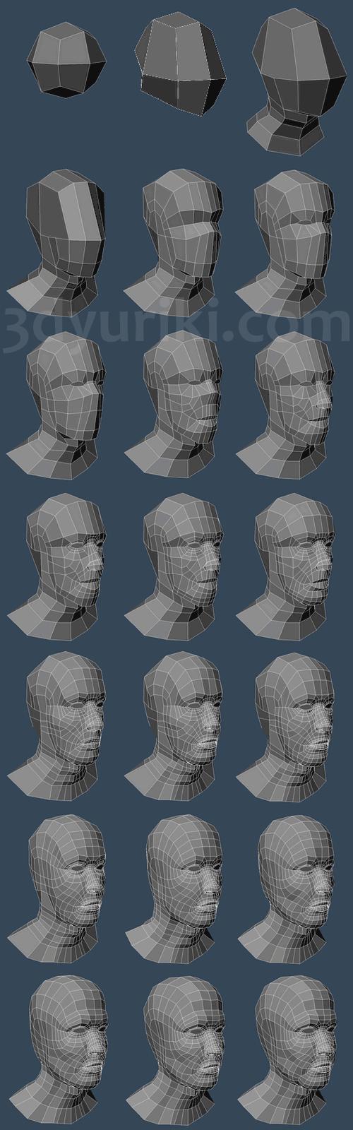 Пошаговый процесс 3D-моделирования человеческой головы