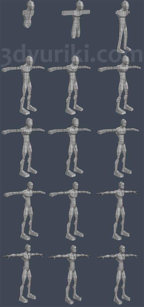 Процесс 3D-моделирования базовой модели человека