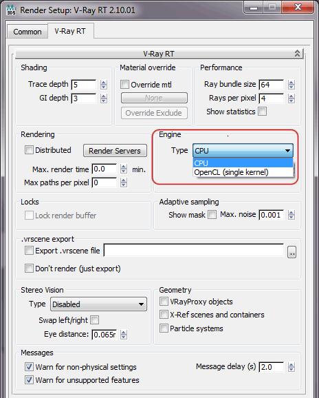 Настройки VRay RT: выбор типа движка CPU или GPU