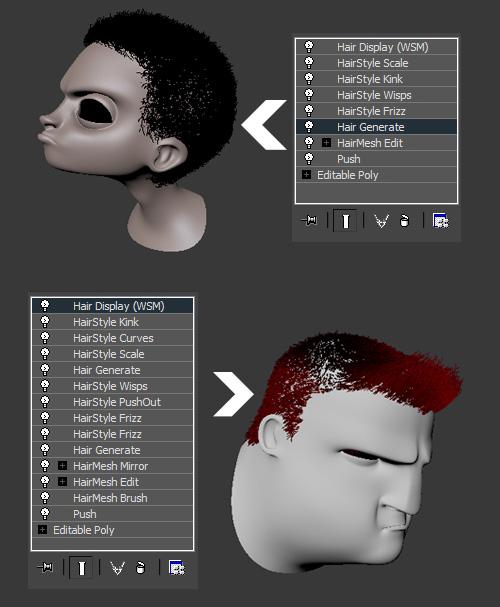 Стек модификаторов для волос в 3ds Max