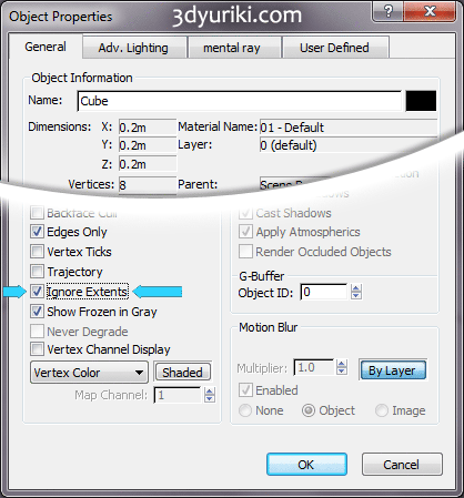 Опция Ignore Extents в свойствах объекта 3ds Max