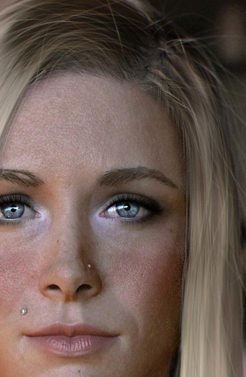 Увеличенная версия CG портрета красивой женщины