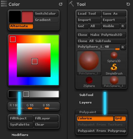 Кнопка Colorize Polypaint и FillObject это одно и то же в Zbrush