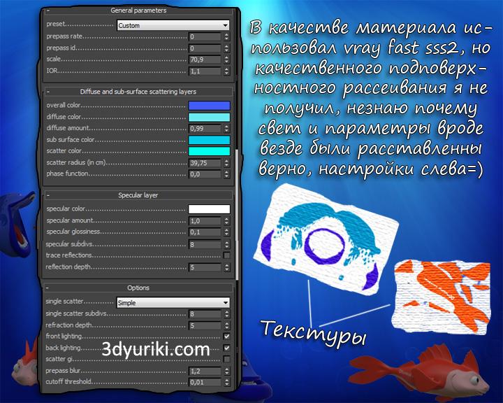 Текстуры и материал VRay для 3D рыбы