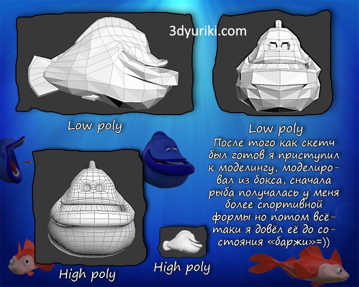 Моделирование низкополигональной рыбы для анимации
