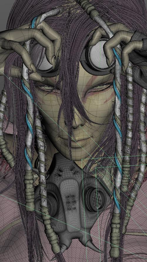 Сетка 3D киберпанк девушки