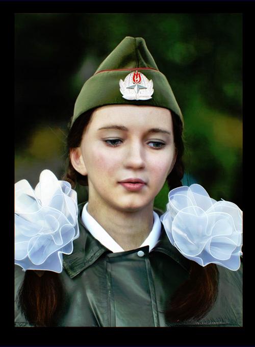 3D девушка с бантами