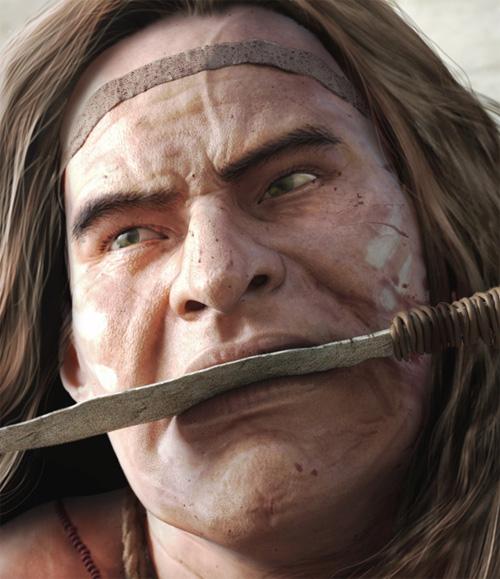 Лицо варвара - убийцы драконов с ножом во рту крупным планом