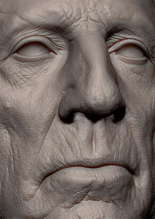 Крупный план лица старого мужчины в zbrush