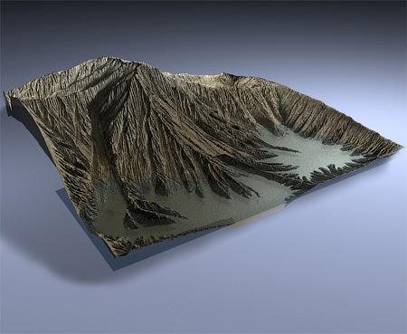 3D горы созданные с помощью дисплейсмента и текстур на основе одного полигона