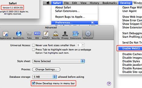 Как активировать WebGL для Safari