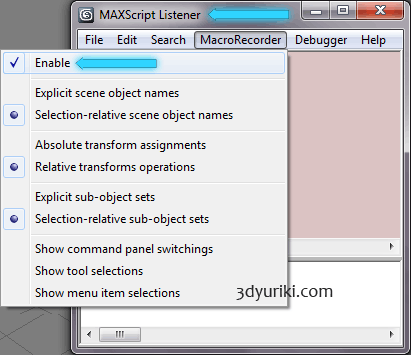 Запускаем MAXScript Listener и включаем MacroRecorder