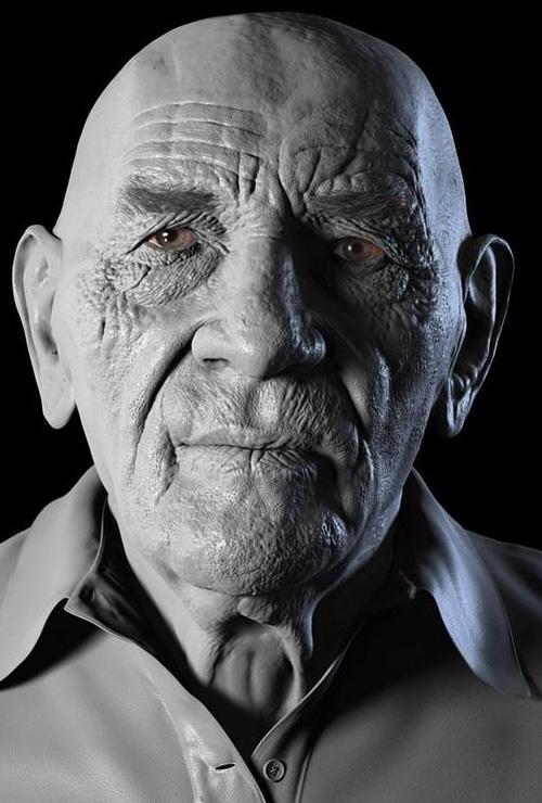 3D меш лица пожилого мужчины