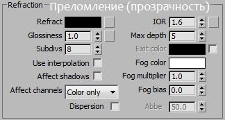 Настройки прозрачности для V-Ray материалов