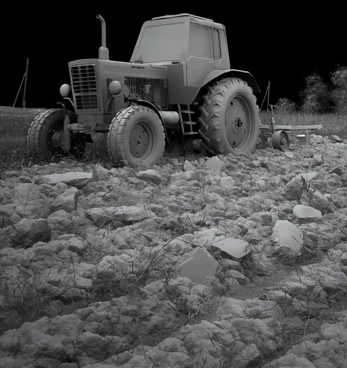 3D трактор и грунт серый материал VRay + 3ds Max