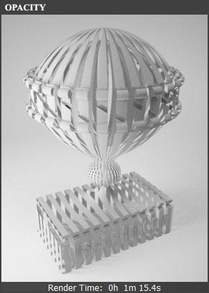 Влияние параметра Opacity VRay материала на прозрачность 3D объекта