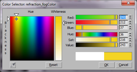 Выбор цвета тумана для прозрачного VRay материала