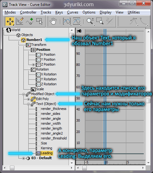Работа с Track View Curve Editor'ом в 3ds Max
