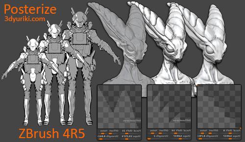 Инструмент Posterize для нефотореалистичного рендера в ZBrush 4R5