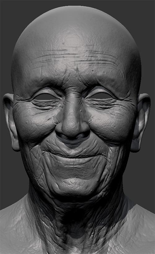 Детализированный 3D меш бабушки из Mudbox
