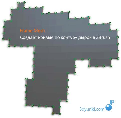 Принцип работы функции Frame Mesh в ZBrush 4R6
