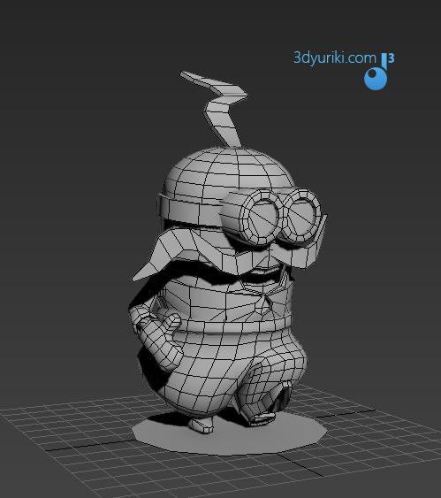 3D сетка игрового персонажа Миньон для игры Нереальные Перегонки 2