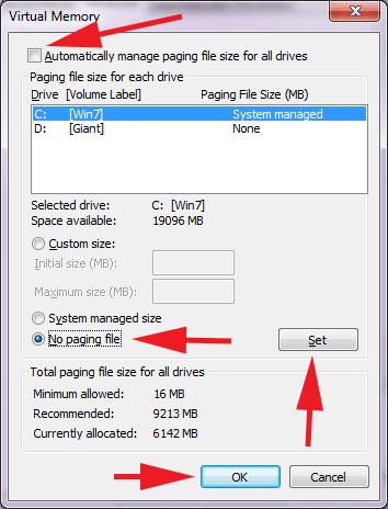 Как отключить файл подкачки на win 7