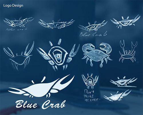 Разные варианты лого голубого краба