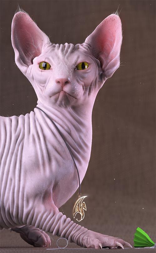 Розовый 3D кот
