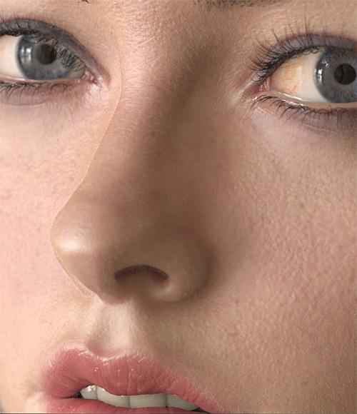 Крупный план реалистичного 3D лица