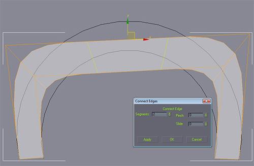 Добавляем два ребра с помощью инструмента Connect