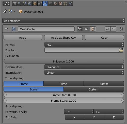 Модификатор Mesh Cache для импорта pc2 в Blender