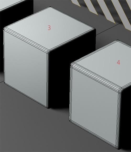 3. кубик с чамфером и 4. кубик с чамфером и лупом рёбер по краю