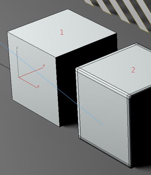 1. просто кубик и 2. кубик с лупами по всем краям сторон