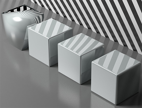 рендер 3D кубиков с разным механизмом сглаживания