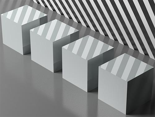 Сцена с 4 одинаковыми 3d кубиками
